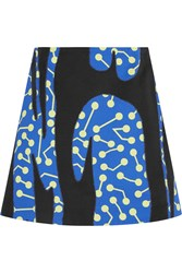 Lulu And Co Printed Cotton Twill Mini Skirt Blue