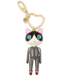 Betsey Johnson Gold Tone Striped Cat Key Chain