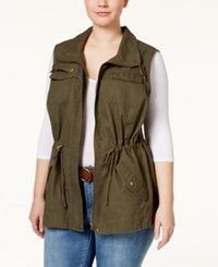 American Rag Plus Size Utility Vest Olive