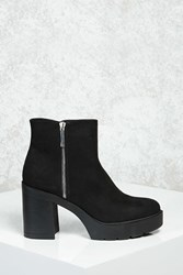 Forever 21 Faux Suede Platform Ankle Boots Black