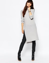 Vero Moda High Neck Side Split Tunic Top Grey