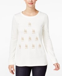 G.H. Bass And Co. Tree Print Sweatshirt French Vanilla Combo