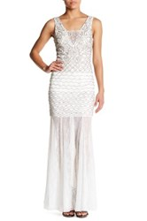 Sue Wong Beaded Lace Trim Dress White