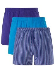 John Lewis Organic Jersey Cotton Double Button Boxers Pack Of 3 Blue