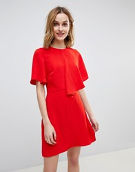 Warehouse Asymmetric Ruffle Front Mini Shift Dress Red