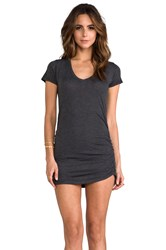 Saint Grace Rayon Jersey V Neck With Shirring Dress Charcoal