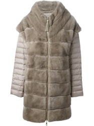 Liska Layered Padded Fur Coat Nude And Neutrals