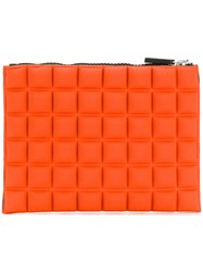 No Ka' Oi Medium Grid Textured Pouch Yellow And Orange