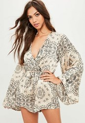 Missguided Nude Paisley Print Playsuit Cream