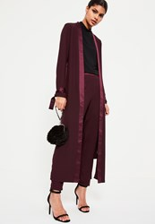 Missguided Purple Satin Trim Tie Cuff Duster Coat Plum