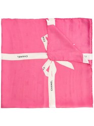 Chanel Vintage Ribbon Print Scarf Pink And Purple