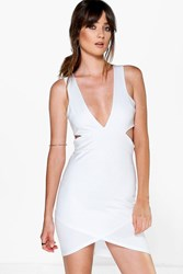 Boohoo Plunge Cut Out Detail Bodycon Dress Ivory