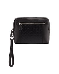 Salvatore Ferragamo Firenze Gamma Textured Leather Belt Bag Black