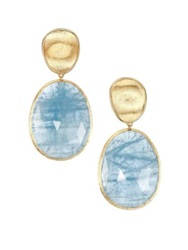 Marco Bicego Lunaria Aquamarine And 18K Yellow Gold Large Drop Earrings