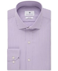 Ryan Seacrest Distinction Men's Slim Fit Non Iron Purple Broken Stripe Dress Shirt