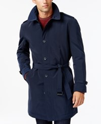 Kenneth Cole New York Slim Fit Reino Water Repellent Raincoat Navy