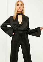Missguided Black Choker Neck Plunge Flare Sleeve Bodysuit