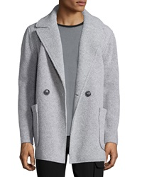Atm Faux Shearling Single Breasted Coat Light Gray Light Grey