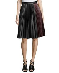 1.State Faux Leather Pleated Midi Skirt Black