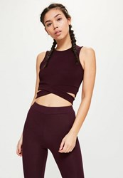 Missguided Active Plum Cut Out Yoga Top