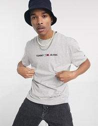 Tommy Jeans Chest Small Logo T Shirt In Grey Marl