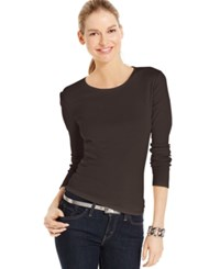 Charter Club Solid Long Sleeve Pima Cotton Top Rich Truffle
