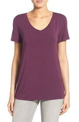 Women's Halogen Modal Jersey V Neck Tee Purple Italian