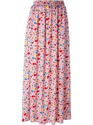 Love Moschino Floral Print Maxi Skirt Pink And Purple