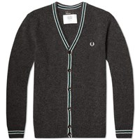 Fred Perry Shetland Wool Cardigan Graphite Marl