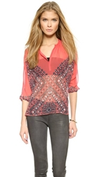 Twelfth St. By Cynthia Vincent Henley Blouse Coral Handkercheif Print