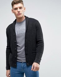 Abercrombie And Fitch Waffle Knit Shawl Collar Cardigan In Charcoal Charcoal Grey