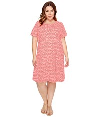 Extra Fresh By Fresh Produce Plus Size Island Batik Sadie Dress Sunset Coral Women's Dress Khaki