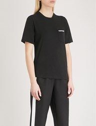 Moandco. Slogan Embroidered Stretch Jersey T Shirt Black