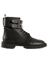 Golden Goose Deluxe Brand Military Style Brogue Boots Black