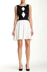 Eva Franco Isadora Diamond Panel Sleeveless Dress Black