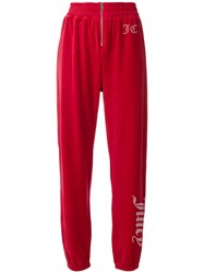 Juicy Couture Customisable Velour Track Trousers Red