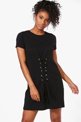 Boohoo Lace Up Front T Shirt Dress Black