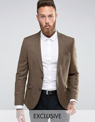 Heart And Dagger Skinny Blazer In Tweed Brown