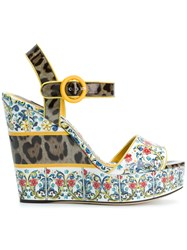 Dolce And Gabbana Majolica Print Wedges Multicolour