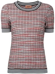 Missoni Checked And Striped Knitted T Shirt Women Nylon Viscose Wool 50