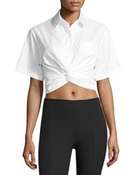 Alexander Wang Cotton Twill Twist Front Blouse White