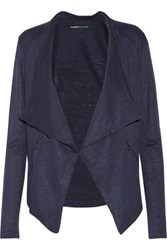Majestic Linen And Silk Blend Cardigan Navy