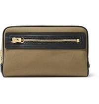 Tom Ford Leather Trimmed Canvas Wash Bag Green