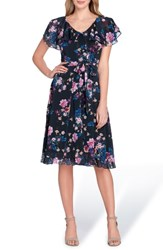 Tahari Flutter Sleeve Floral Print Fit And Flare Dress