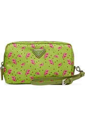 Prada Textured Leather Trimmed Printed Shell Cosmetics Case Green