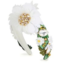 Dolce And Gabbana Crystal Embellished Hairband White