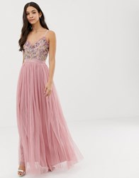 Maya Cami Strap Contrast Embellished Top Tulle Detail Maxi Dress In Vintage Rose Pink