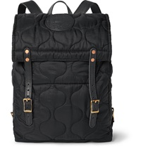 Yuketen Leather Trimmed Quilted Shell Backpack Black