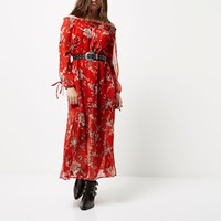 River Island Womens Petite Red Floral Print Bardot Maxi Dress