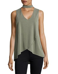 Design Lab Lord And Taylor Sleeveless V Cutout Blouse Olive